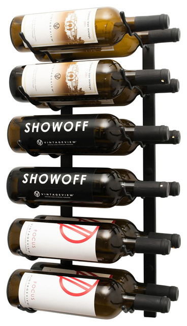 Wall Series 2 Foot Wall Mounted Metal Wine Rack, 12 Bottles, Satin Black.