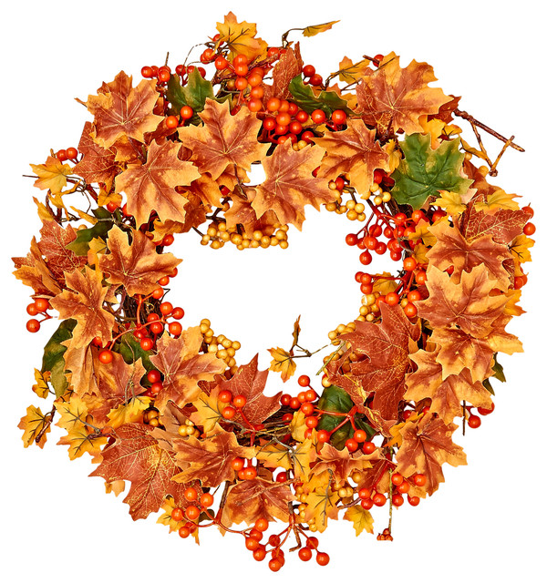"""20"""" Maple Leaf And Mixed Berry Fall Wreath."""