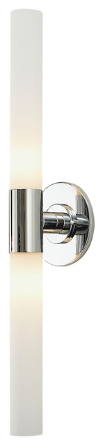 Two-Lamp Long Cylinder With White Opal Glass Chrome