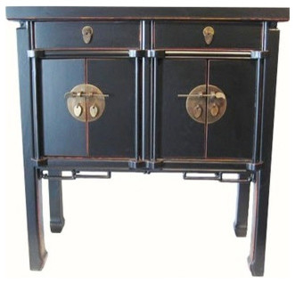 Oriental Hall Chest Antique-Style Black Lacquer