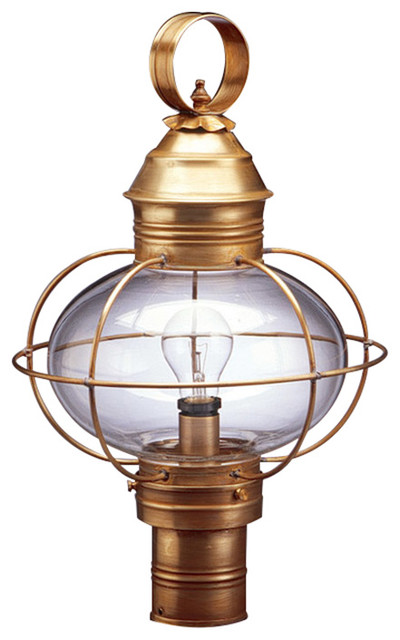 onion 1 light post light in antique brass beach style post lights. Black Bedroom Furniture Sets. Home Design Ideas