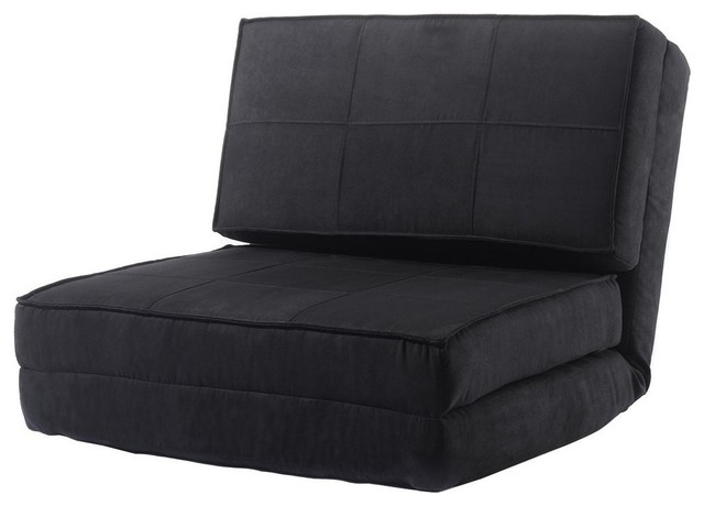 Convertible Sleeper Bed Couch in Suede Fabric, Black by Decor Love