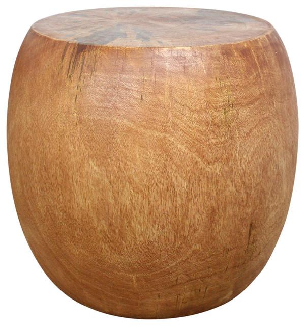 Haussmann Sustainable Mango Wood Pouf Stool 20 Dia X 18 In