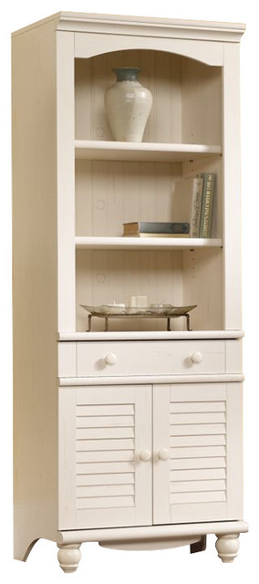 Sauder Harbor View Library With Doors In Antiqued Paint, Antiqued White.
