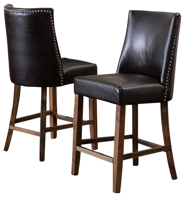 Counter Height Nailhead Chairs : Rydel Nailhead Accent Brown Leather Stools, Counter Height, Set of 2 ...