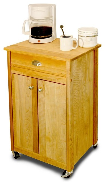Wheeled Deluxe Cuisine Cart w Hardwood Constr - Contemporary - Kitchen Islands And Kitchen Carts ...