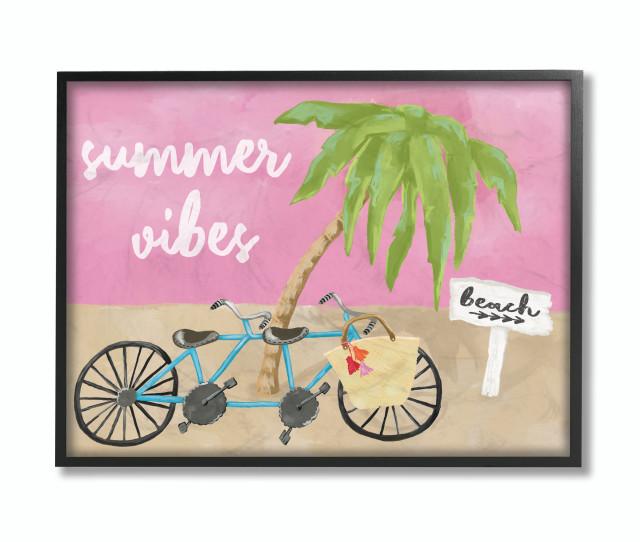 "Summer Vibes Bike Pink Green Beach Ocean Design, 11""x14"", Black Frame"