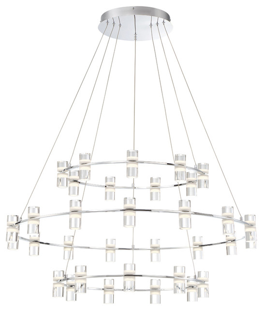Darlana Two Tiered Ring Chandelier: Netto LED Large 3-Tier Ring Chandelier