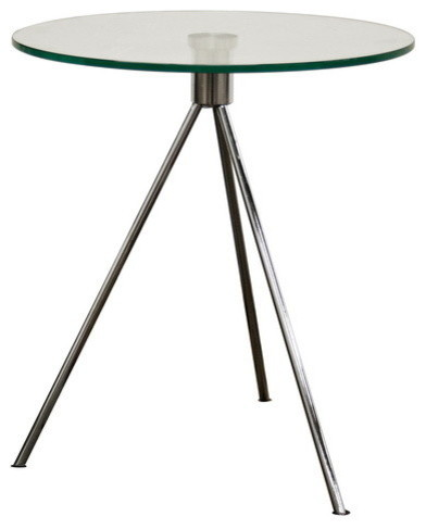 Baxton Studio Triplet Round Glass Top End Table With Tripod Base.