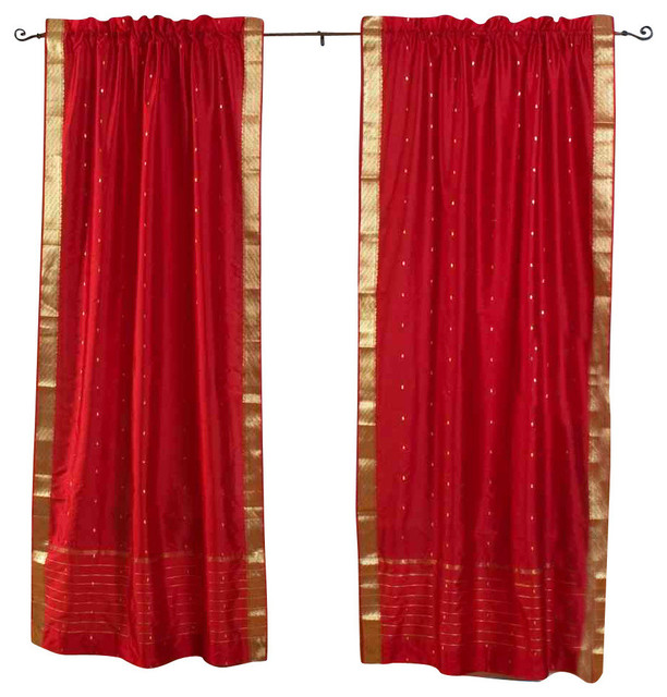 Fire Brick Rod Pocket Sheer Sari Curtain Drape And Panel Pair 43x84