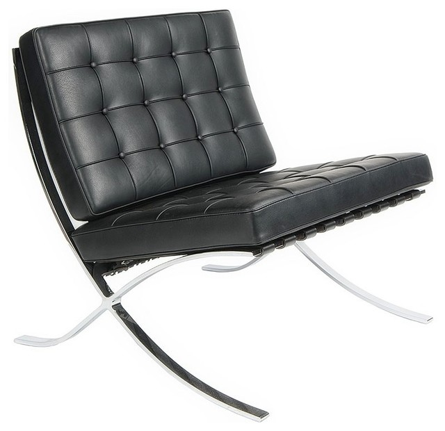 Exposition Chair, Seat: Black, Material: Top Grain Italian Leather    Armchairs