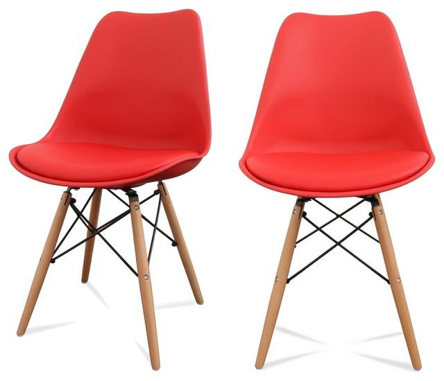 lot de 2 chaises design ormond dsw couleur rouge scandinave chaise de salle manger par. Black Bedroom Furniture Sets. Home Design Ideas