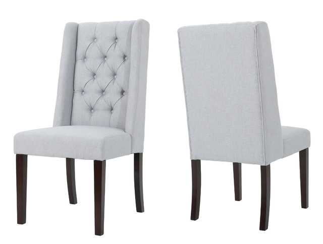 Blaine Tufted Wing Back Fabric Dining Chairs, Set Of 2, Light Gray.