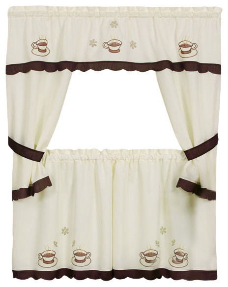 "Cuppa Joe Embellished Cottage Set, 58""x24"" Tailored Tier Pair/58""x36"" Topper."