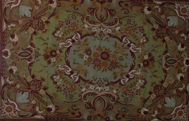 Crewel Rug Art Nouveau Green Chain Sched Wool 2u0027x3u0027 Traditional