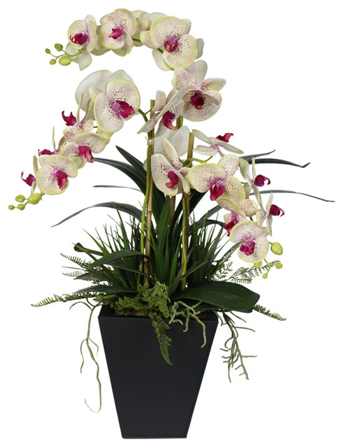 f7dda47adb Real Touch Green With Pink Center Phalaenopsis Orchids in a Metal Planter -  Contemporary - Artificial Flower Arrangements - by JENNY SILKS