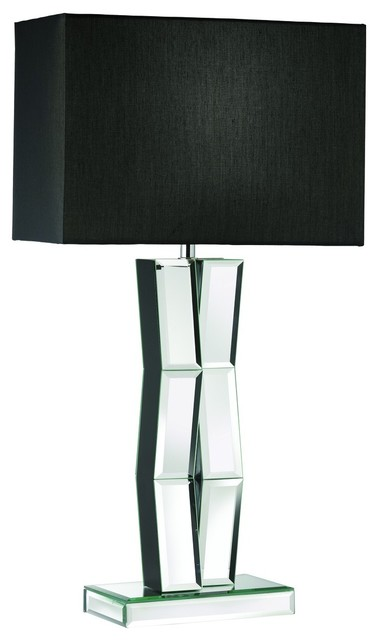 Mirrored Reflection Mirror Wood Table Lamp Black Rectangle Shade