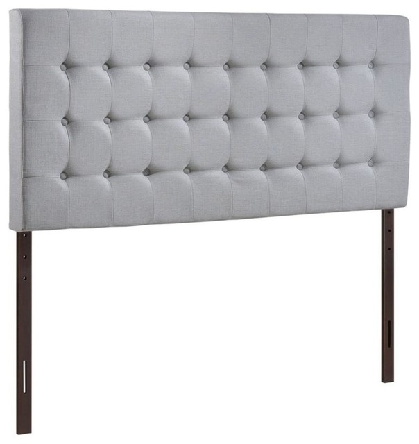 Hawthorne Collection Queen Tufted Panel Headboard, Sky Gray.