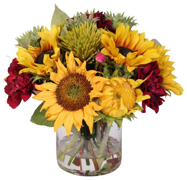 Silk Sunflower and Dahlia in Flower Bouquet - Farmhouse - Artificial ...