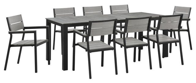 Modway Maine 9 Piece Outdoor Patio Dining Set, Brown Gray