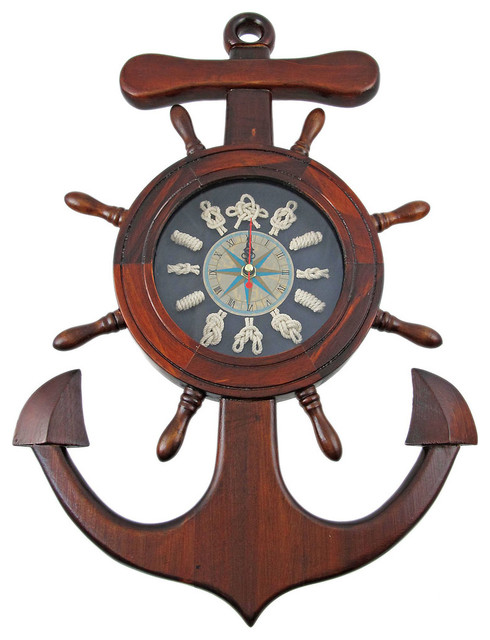 Wooden Ships Wheel Anchor Sailors Knot Wall Clock