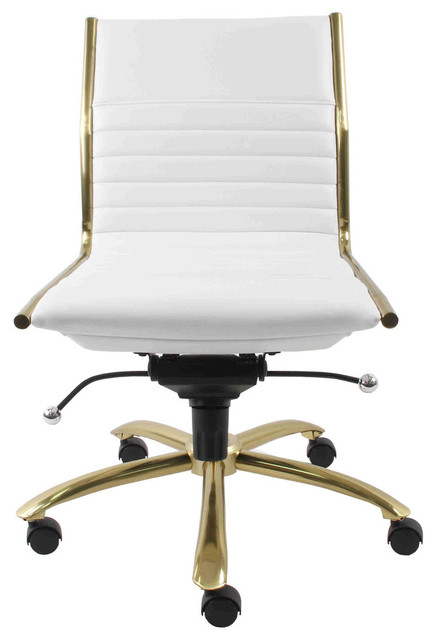 Dirk Armless Low Back Office Chair, White With Brushed Gold Base.