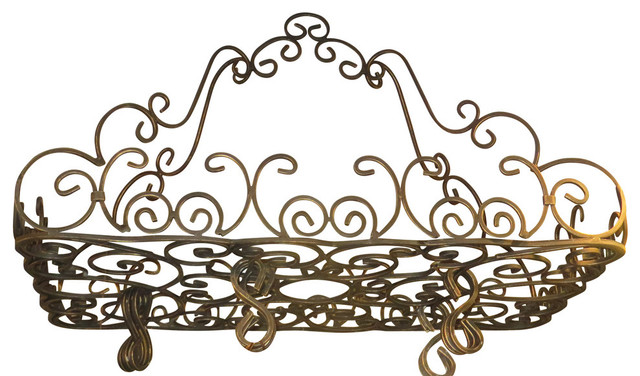 Ornate Wrought Iron French Scroll Pot Rack, Hanging Pan Ceiling Gothic.