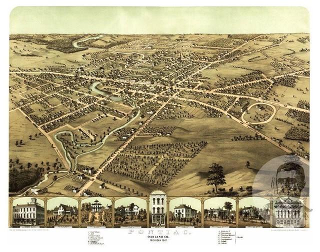 Historic Pontiac Mi Map 1867 Vintage Michigan Art Print Decor