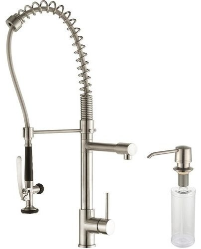 Comnmercial One Handle Kitchen Faucet And Soap Dispenser Steel.