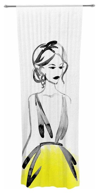"""yellow Model"" Black Yellow People Watercolor Decorative Sheer Curtain."