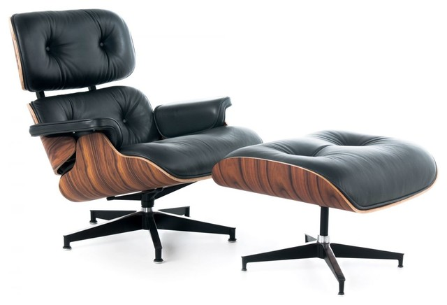 Lux Italian Leather Lounge Chair and Ottoman, Black Italian Leather With Rosewoo