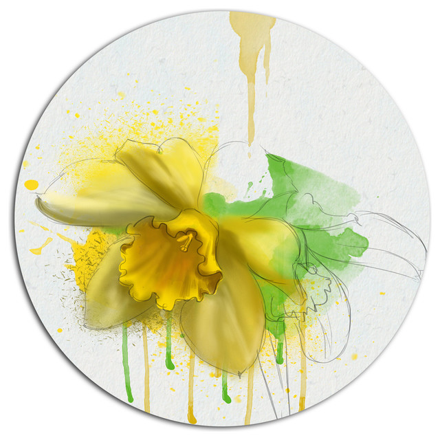 Yellow Narcissus Flower Watercolor, Floral Disc Metal Wall Art ...