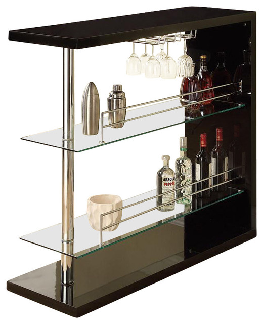 Wine Rack Bar Table Unit With 2 Glass Shelves Wine Holder