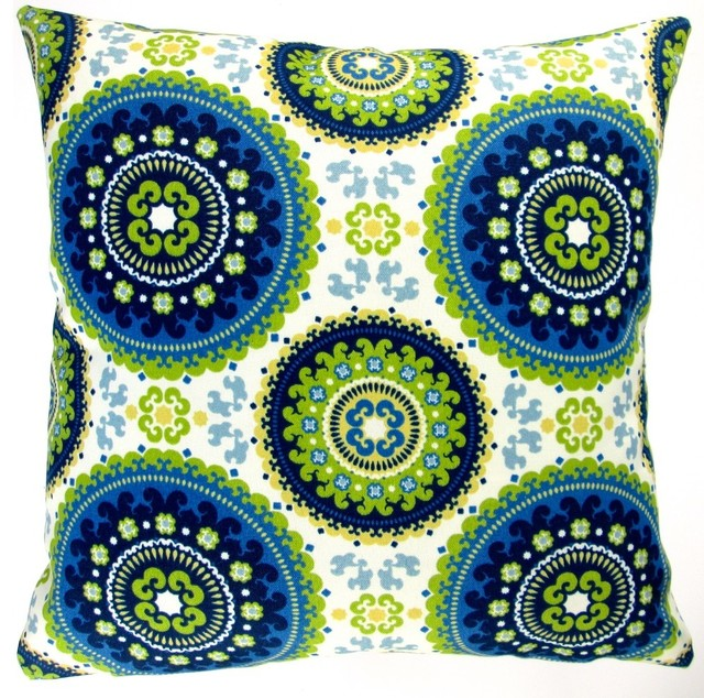 Artisan Pillows 18 Indoor//Outdoor Modern Geometric Ikat Throw Pillow Indigo Blue Set of 2