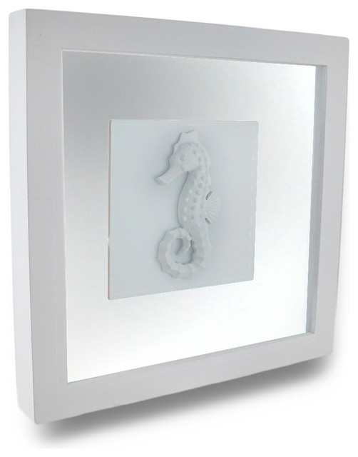 white seahorse shadow box wall hanging beach style prints and posters