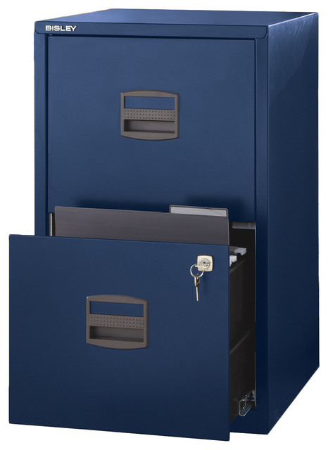 Malcolm Steel 2-Drawer Office Filing Cabinet, Navy Blue.