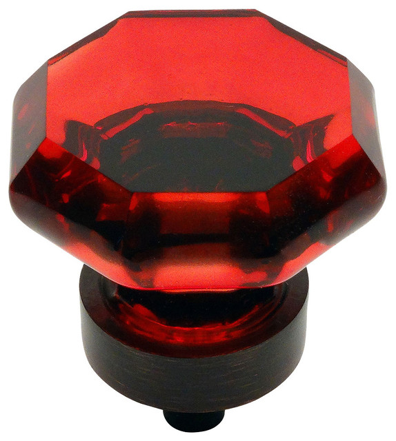 5268ORB-RED Oil Rubbed Bronze and Red Glass Cabinet Knob ...