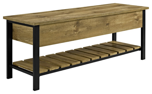 48 Open-Top Storage Bench With Shoe Shelf, Barnwood