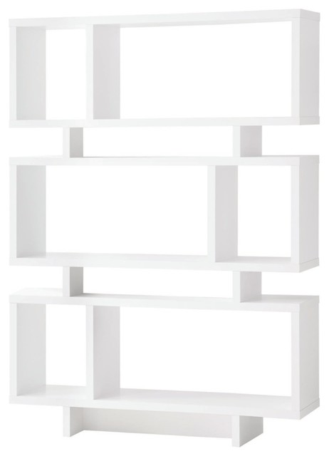 Home Office Reversible Geometric Bookcase, White.