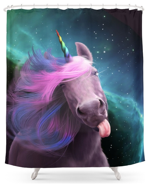 society6 sassy unicorn shower curtain - contemporary - shower