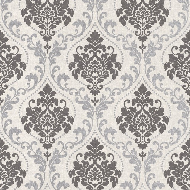 Silver Royal Damask Wallpaper Sample