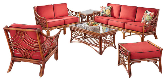 Bali 6 piece living room furniture set in brown clemens for 6 piece living room set