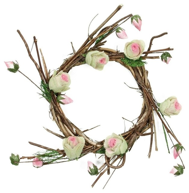 """11"""" Brown Cream And Pink Spring Floral Twig Wreath, Unlit."""
