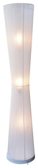 Handmade Floor Lamp With Pure White Fabric Macrame Shade.