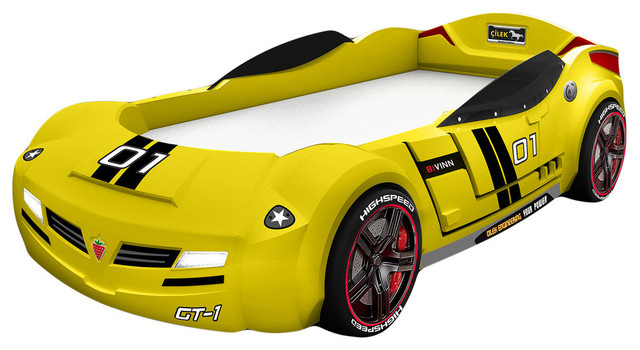 turbo car bed with mattress yellow twin modern kids beds