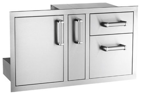 Flush Mount Double Access Door With Dual Drawer And Trash Tray.