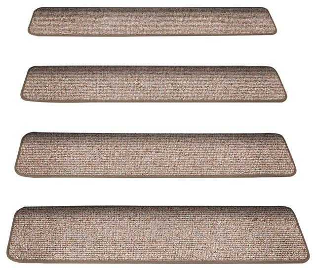 Attachable Carpet Stair Treads Pebble Beige Set Of 12 8 X23