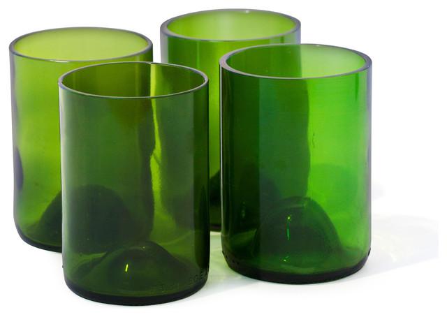 Wine Bottle Rocks Drinking Glasses, Set of 4, Green