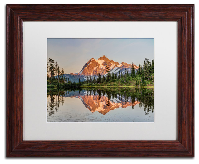Pierre Leclerc &x27;picture Lake Sunset&x27; Matted Framed Art, Wood Frame, White, 14x11.