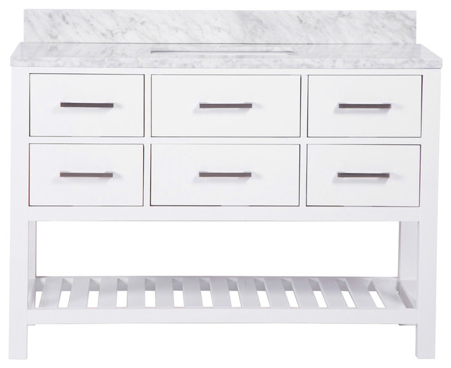 "48"" Belvedere Traditional Freestanding White Bathroom Vanity With Marble Top."
